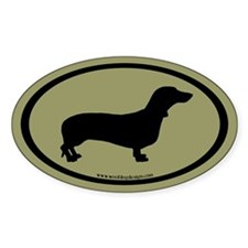 Dachshund Oval (black on sage) Oval Decal