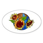 Sunflower Planet Oval Sticker (50 pk)