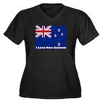 I Love New Zealand Women's Plus Size V-Neck Dark T
