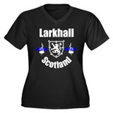 Larkhall Scotland Women's Plus Size V-Neck Dark T-