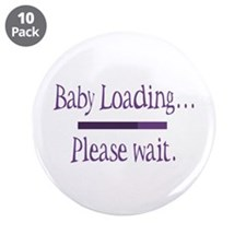 "Purple Baby Loading Please Wait 3.5"" Button (10 pa"