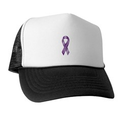 Cure Cancer Purple Ribbon Trucker Hat