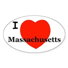 I Love Massachusetts Oval Decal