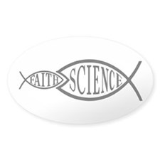 Science Trumps Faith Oval Sticker (10 pk)