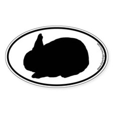 Rabbit SILHOUETTE Oval Sticker (10 pk)