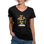 Haug Family Crest Women's V-Neck Dark T-Shirt