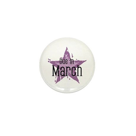 Purple Star Due In March Mini Button (100 pack)