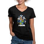 Hartel Family Crest Women's V-Neck Dark T-Shirt