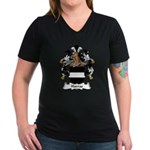 Harras Family Crest Women's V-Neck Dark T-Shirt