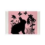 SPRING BUNNY SILHOUETTE Rectangle Magnet