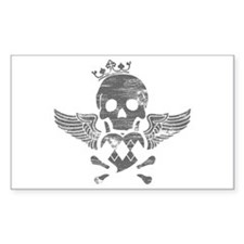 Winged Skull Rectangle Decal
