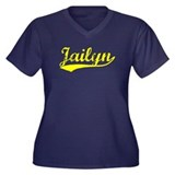 Vintage Jailyn (Gold) Women's Plus Size V-Neck Dar