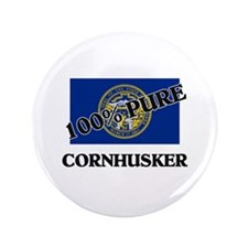 "100 Percent Cornhusker 3.5"" Button"