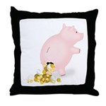 Incontinent Piggy Bank Throw Pillow