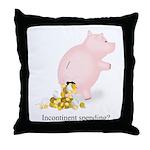 Incontinent Spending Piggy Bank Throw Pillow