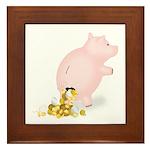 Incontinent Piggy Bank Framed Tile