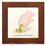 Incontinent Spending Piggy Bank Framed Tile