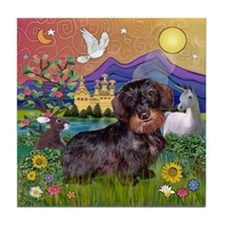 Fantasy / Wire Haired Dachshund Tile Coaster