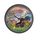 Cloud Angel / Dachshund (WireH) Wall Clock