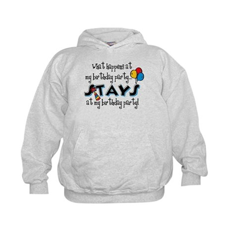 Stays At My Birthday Party Kids Hoodie