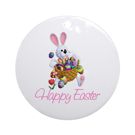 Happy Easter Bunny Ornament (Round)
