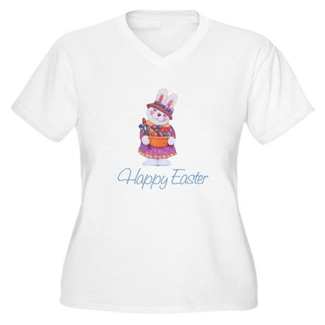 Happy Easter Bunny Women's Plus Size V-Neck T-Shir