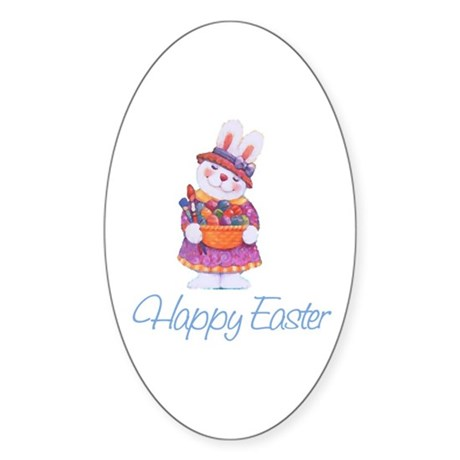 Happy Easter Bunny Oval Sticker