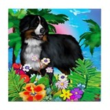 BERNESE MOUNTAIN DOG Sunset Tile Coaster