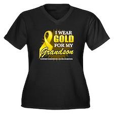 Gold For My Grandson Women's Plus Size V-Neck Dark
