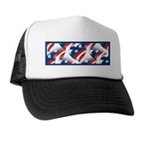 USA Flag Heart Collage Hat