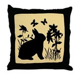 SPRING BUNNY SILHOUETTE Throw Pillow