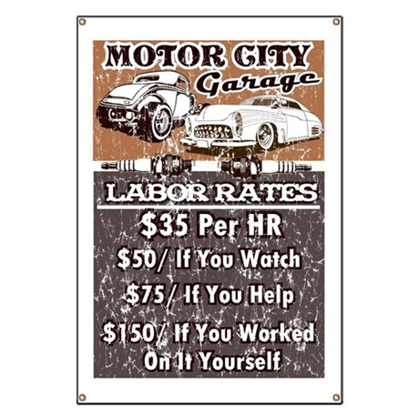 Motor City Labor Rates Garage Banner