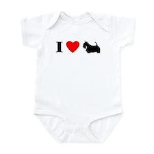 I Heart Scottish Terrier Baby Bodysuit