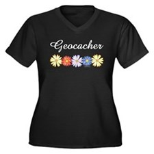 Geocacher Asters Women's Plus Size V-Neck Dark T-S