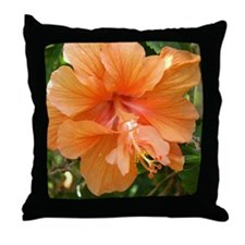 Peach Hibiscus Throw Pillow