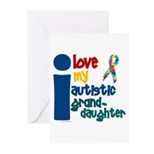 I Love My Autistic Granddaughter 1 Greeting Cards