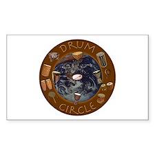 World Drum Circle Rectangle Decal