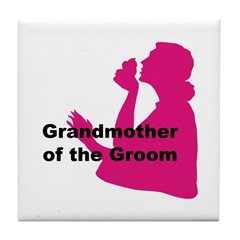 Silhouette Grandmother of the Groom Tile Coaster