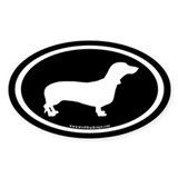 Dachshund Oval (white on black) Oval Decal