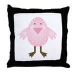 Pink Spotted Easter Chick Throw Pillow
