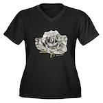 Musical Rose Women's Plus Size V-Neck Dark T-Shirt