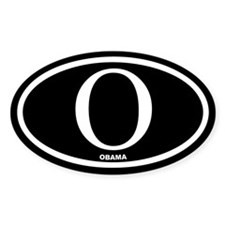 Barack Obama Black Euro Oval Decal