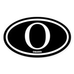 Barack Obama Black Euro Oval Sticker