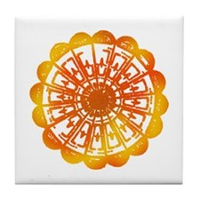 Orange Tie Dye Tile Coaster