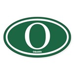 Green Obama Euro Oval Sticker