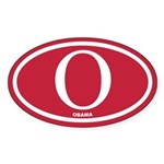 Red Obama Euro Oval Sticker