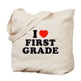 I Heart/Love First Grade Tote Bag