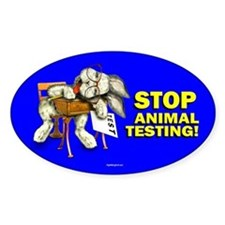 Stop Animal Testing! Oval Decal