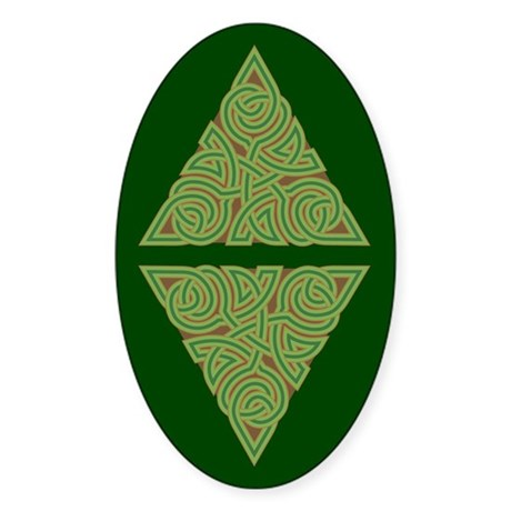 Arboreal Triangle Knot Oval Sticker (10 pk)
