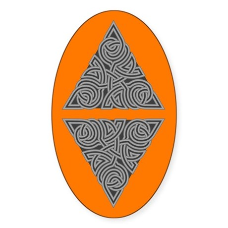 Charcoal Triangle Knot Oval Sticker (50 pk)